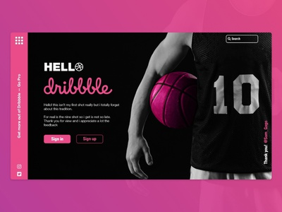 Hello Dribble pink website landing page web deisgn basketball hello dribble welcome shot first shot