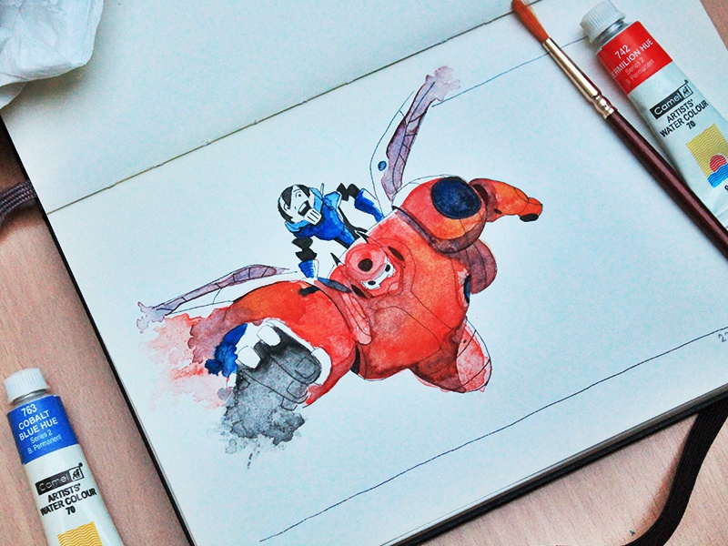 First Shot - Baymax & Hiro invite thanks dribbble debut watercolor baymax hiro big hero 6 red blue fly moleskine