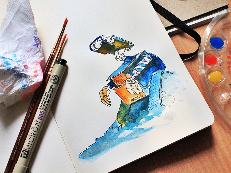 Wall e wall e watercolor moleskine multicolor brush micron blue fan art