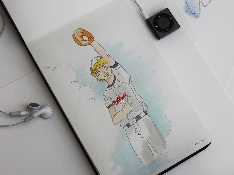 Baseball sketching drawing white green blue yellow orange ipod micron moleskine watercolor baseball