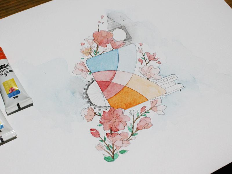 Having fun with watercolors bus green red blue flowers ban big london micron watercolors kayako