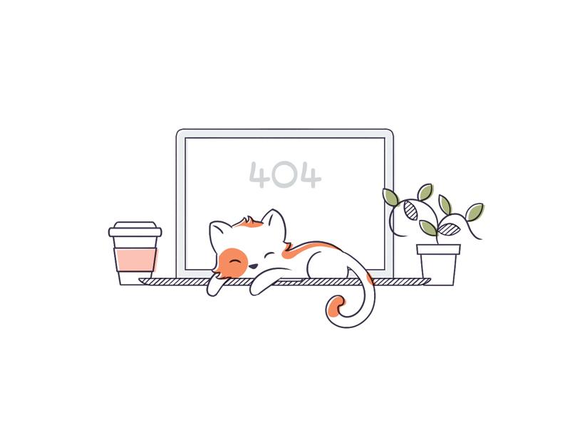 404 Page not found cute sleeping macbook coffee cup plant 404 error cat kayako