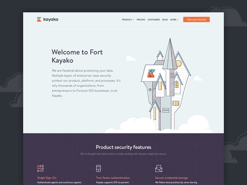 Security page features fort web design website security kayako