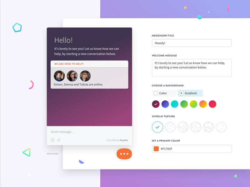 Customize your way... live chat customer service customize messenger modern illustration product kayako