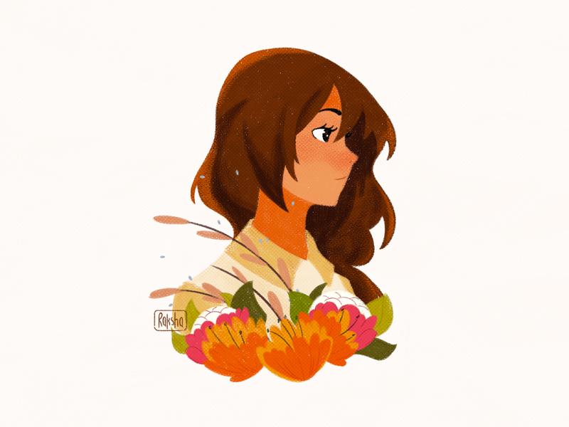 Profile shot profile texture illustration girl floral flower digital art