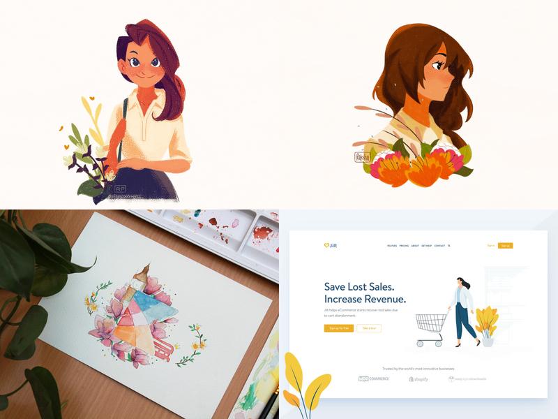 Top 4 of 2018 girl ui watercolor illustration top4shots