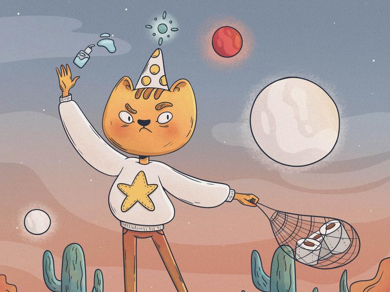 Sanitizer cat childrens book cat illustrator illustration art illustration design bright color sanitizer