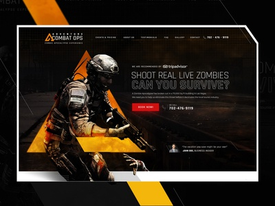 Adventure Combat Ops | Website Design and Image Manipulation art direction ui  ux inspiration adrenaline zombies action dark ui theme park las vegas commando adventure creative design awesome design web design website concept website design