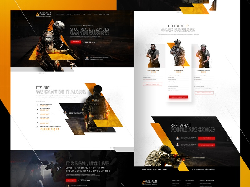 Adventure Combat Ops | Website Design and Image Manipulation apocalypse zombies website design website concept web design ui ux theme park las vegas inspiration dark ui creative  design commando awesome design adventure adrenaline action