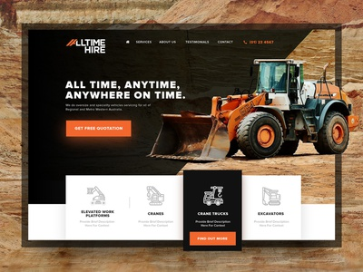 All Time Hire Website Design construction creative design web design website design ui design