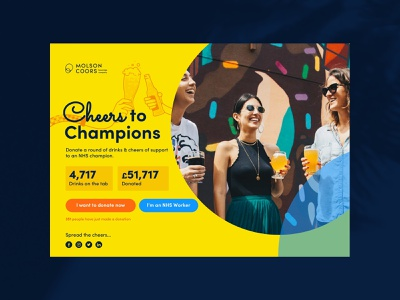 """Molson Coors """"Cheers to Champions"""" Concept molson coors cheers drinks donate covid 19 nhs vector design illustration ui typography"""