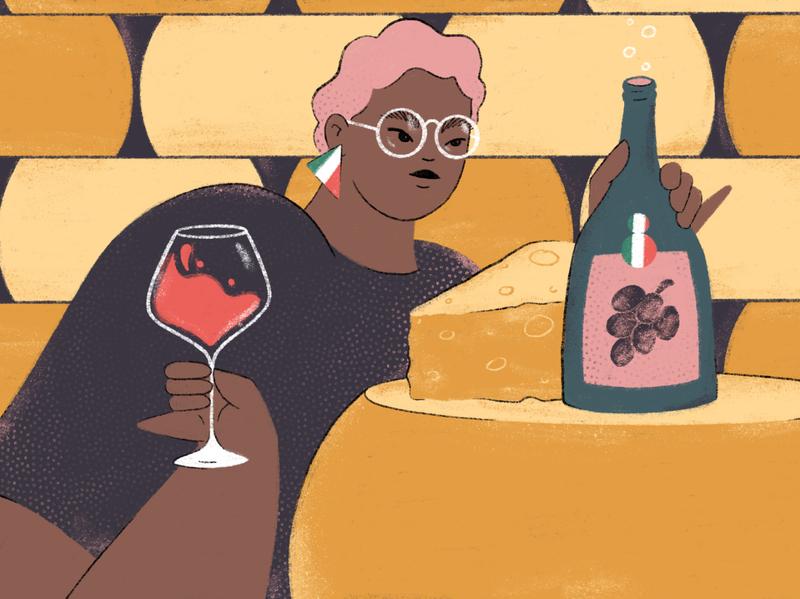 PUNCH cheese wine bottle magazine editorial article wine woman procreate photoshop digital drawing digital art illustration digital illustration