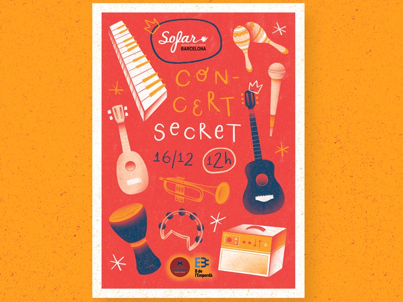 Sofar Sounds Barcelona poster art sofar sounds sofar concert poster concert music poster music illustration music poster design poster digital drawing digital art illustration digital illustration