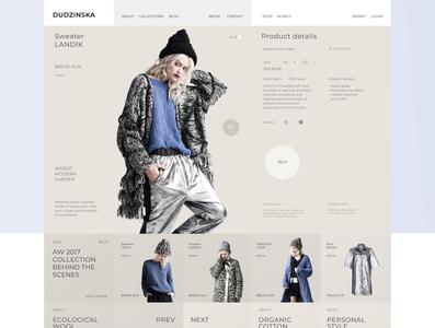 Apparel designer web store wireframe