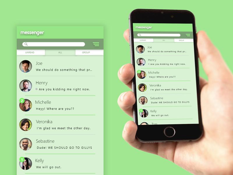 Messenger App flat illustration typography animation user experience 3d logo app ui design ux