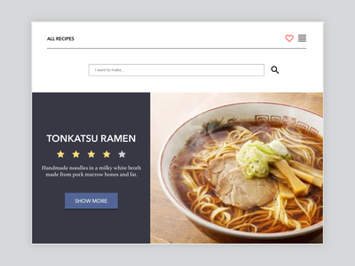 Recipe, Attempt #1 website recipe web design