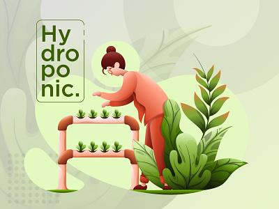 Illustrasion Exploration Hydroponic website web ui studio vector gradient design illustrations illustration flat gradient designs design character