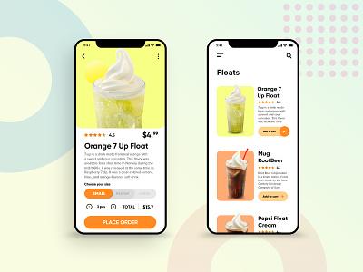 Drink Order App - Floats Page drink menu food app clean design app concept design dashboad mobile app mobile ui ui design ui  ux user interface
