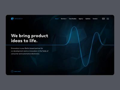 Emovation Landing Page agency website stereo icons dark hearbeat pulse innovation electronics automotive startup hi-fi speakers pulse animation audio products audio landing page agency