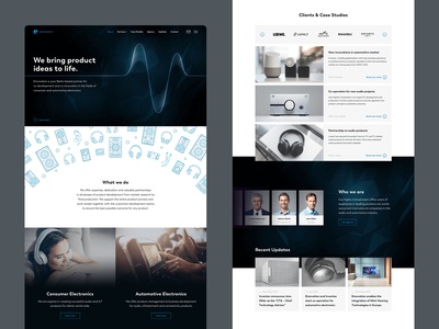 Emovation Landing Page agency landing page audio audio products pulse animation speakers hi-fi startup automotive electronics innovation pulse heartbeat dark icons stereo agency website