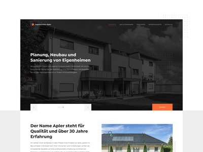 Ingenieurbüro Apler - Landing Page family germany german minimalistic construction plan properties homepage landing page engineers minimal clean building architecture house real estate firm architectural engineering architect construction