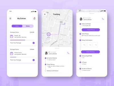 Tracking App treinetic uiux mobile app mobile ui travelling app design location tracking shipment tracking parcel delivery card list map order tracking app order delivery delivery app location ux ui ios shipment tracking app
