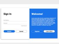 Login and register screen