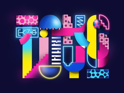 TOKYO Artwork illustrated lettering typography vector geometric photoshop lettering illustrator