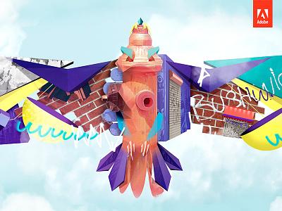 Adobe Creative Cloud #MakeIt colorful geometric creative cloud nyc birgitpalma brooklyn bushwick bird adobe