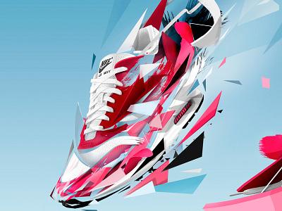 DaShape Sneaker Event BCN 2015 exploding polygon illustration nike