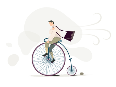 penny-farthing bicycle bicycle cycling wheels penny farthing man flat  design vector illustration