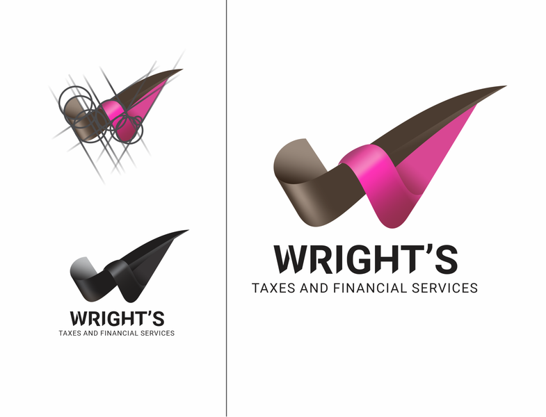 Wright's Taxes and Financial Services typography branding logo vector design