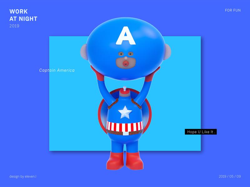 Captain America cartoon illustration design cinema 4d 3d