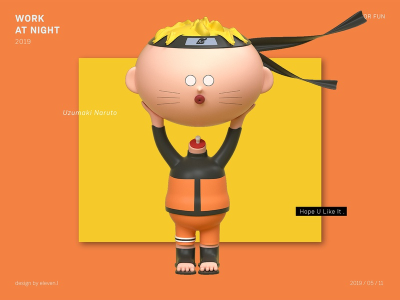 Uzumaki Naruto render practice octane cartoon illustration design cinema 4d 3d