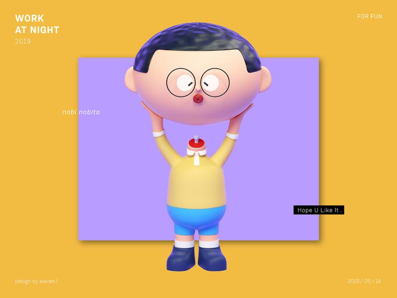 Nobi Nobita render practice octane cartoon illustration design cinema 4d 3d