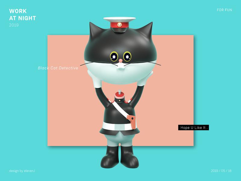 黑猫警长 - Black Cat Detective render octane practice cartoon illustration design cinema 4d 3d
