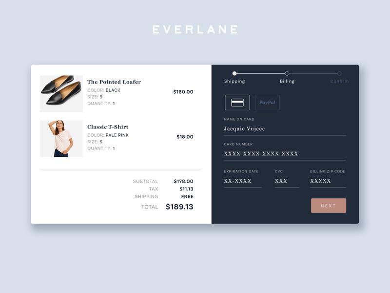 DailyUI 002 | checkout shopping clothing blue everlane checkout dailyui
