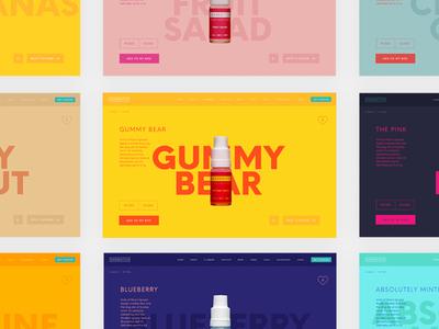 Shoreditch Flavour Pages vape flavour type colour visual design website interface ui web