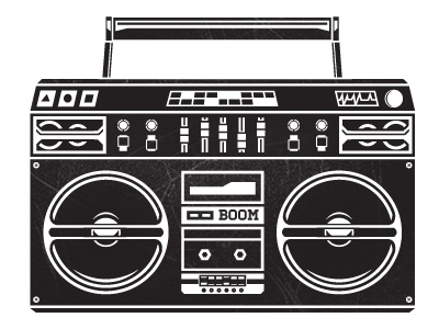 BOOM! speakers music illustration one colour boom boombox cd player whatthefurr