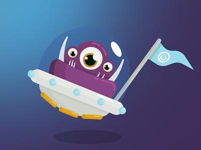 Teethy flag happy orbs spaceship monster teeth gnarled