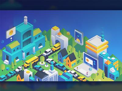 New PMK Landing Page Illustration page website landing isometric illustrations icons communities city school