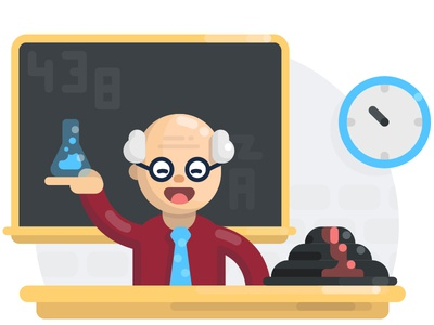 Yo Teach smile old man tie chalkboard clock volcano teaching teacher