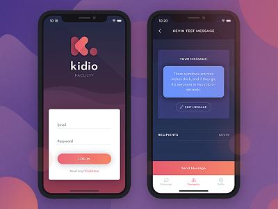 Rebranded Kidio App ui user interface app designer mobile phone iphone x mobile application pink logo designer icon gradient logo digital product brand
