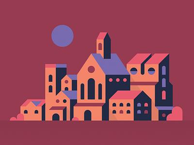 Sunset School Building tower maroon sunset vector simple landscape landmark illustration flat city building school