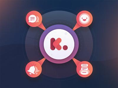 Kidio Product Wheel circle wheel glow gradient feed alerts messaging smile digital product product wheel