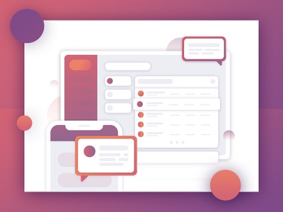 Multi-Platform Messaging mobile purple iphone x messenger message house dashboard gradient flat computer circle abstract