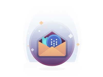 Invite and Send cryptocurrency crypto coin stars envelope send invite illustration icon email cloud app