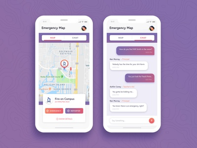 Emergency Map & Chat lame chat app map fire iphone x emergency ux ui web site