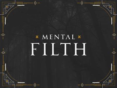 Mental Filth Brand Concept card frame mark logo gold evil gothic pattern dark branding
