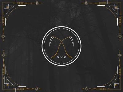 Mental Filth Seal scythe sigil pattern mark logo gothic gold frame evil dark card branding